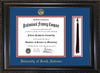 Image of University of South Alabama Diploma Frame - Vintage Black Scoop - w/USA Embossed Seal & Name - Tassel Holder - Royal Blue on Crimson mats