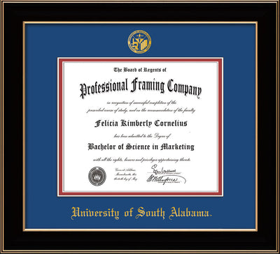 Image of University of South Alabama Diploma Frame - Black Lacquer - w/USA Embossed Seal & Name - Royal Blue on Crimson mats