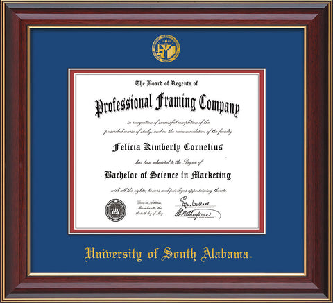 Image of University of South Alabama Diploma Frame - Cherry Lacquer - w/USA Embossed Seal & Name - Royal Blue on Crimson mats