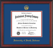 Image of University of South Alabama Diploma Frame - Cherry Reverse - w/USA Embossed Seal & Name - Royal Blue on Crimson mats