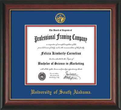 Image of University of South Alabama Diploma Frame - Rosewood w/Gold Lip - w/USA Embossed Seal & Name - Royal Blue on Crimson mats