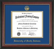 Image of University of South Alabama Diploma Frame - Rosewood w/Gold Lip - w/USA Embossed Seal & Name - Royal Blue on Gold mats