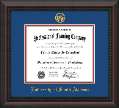 Image of University of South Alabama Diploma Frame - Mahogany Braid - w/USA Embossed Seal & Name - Royal Blue on Crimson mats