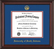Image of University of South Alabama Diploma Frame - Mahogany Lacquer - w/USA Embossed Seal & Name - Royal Blue on Crimson mats