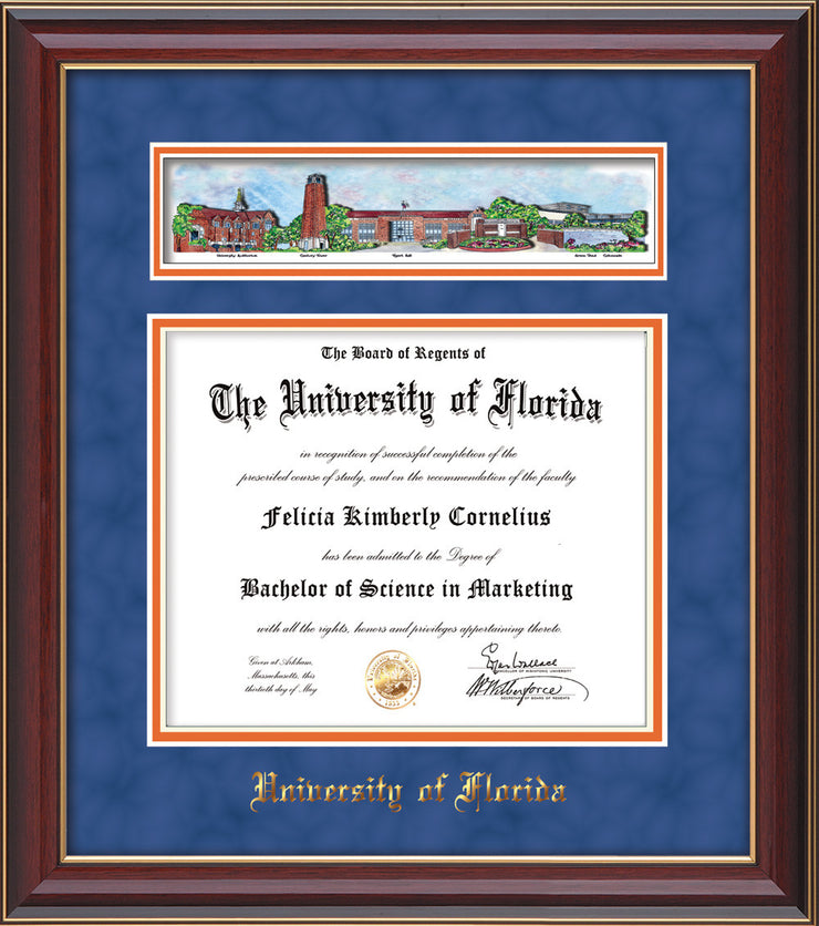 Image of University of Florida Diploma Frame - Cherry Lacquer - w/Embossed School Name Only - Campus Collage - Royal Blue Suede on Orange mat
