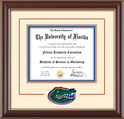 Image of University of Florida Diploma Frame - Cherry Lacquer - 3D Laser UF Gator Head Logo Cutout - Cream on Orange on Royal Blue mat