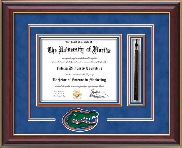 Image of University of Florida Diploma Frame - Cherry Lacquer - 3D Laser UF Gator Head Logo Cutout - Tassel Holder - Royal Blue Suede on Orange on Royal Blue mat