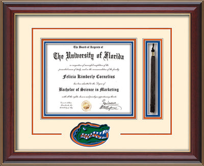 Image of University of Florida Diploma Frame - Cherry Lacquer - 3D Laser UF Gator Head Logo Cutout - Tassel Holder - Cream on Orange on Royal Blue mat