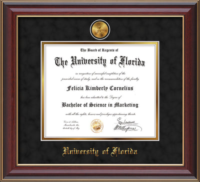 Image of University of Florida Diploma Frame - Cherry Lacquer - w/24k Gold-Plated Medallion UFL Name Embossing - Black Suede on Gold mats