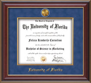 Image of University of Florida Diploma Frame - Cherry Lacquer - w/24k Gold-Plated Medallion & Fillet - w/UFL Name Embossing - Royal Blue Suede mat