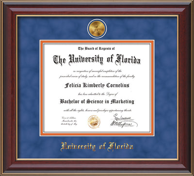 Image of University of Florida Diploma Frame - Cherry Lacquer - w/24k Gold-Plated Medallion UFL Name Embossing - Royal Blue Suede on Orange mats
