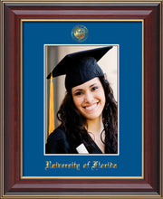 Image of University of Florida 5 x 7 Photo Frame - Cherry Lacquer - w/Official Embossing of UF Seal & Name - Single Royal Blue mat