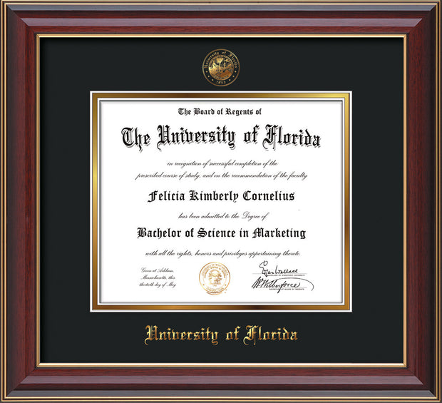 Image of University of Florida Diploma Frame - Cherry Lacquer - w/Embossed Seal & Name - Black on Gold mat
