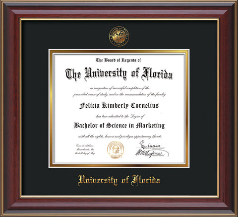 image of university of florida diploma frame cherry lacquer wembossed seal