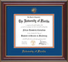 Image of University of Florida Diploma Frame - Cherry Lacquer - w/Embossed Seal & Name - Royal Blue on Orange mat