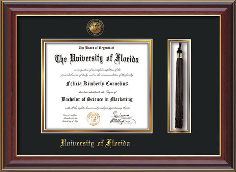 Image of University of Florida Diploma Frame - Cherry Lacquer - w/Embossed Seal & Name - Tassel Holder - Black on Gold mat