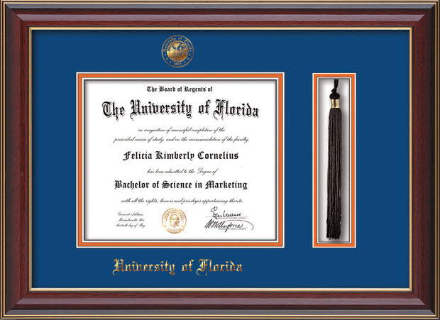 Image of University of Florida Diploma Frame - Cherry Lacquer - w/Embossed Seal & Name - Tassel Holder - Royal Blue on Orange mat