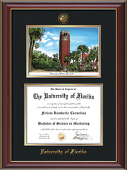 Image of University of Florida Diploma Frame - Cherry Lacquer - w/Embossed Seal & Name - Watercolor - Black on Gold mat