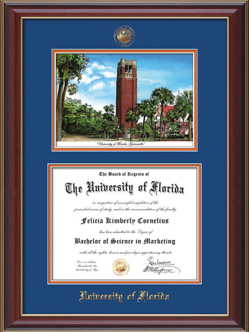 Image of University of Florida Diploma Frame - Cherry Lacquer - w/Embossed Seal & Name - Watercolor - Royal Blue on Orange mat