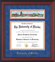 Image of University of Florida Diploma Frame - Cherry Reverse - w/Embossed School Name Only - Campus Collage - Royal Blue Suede on Orange mat