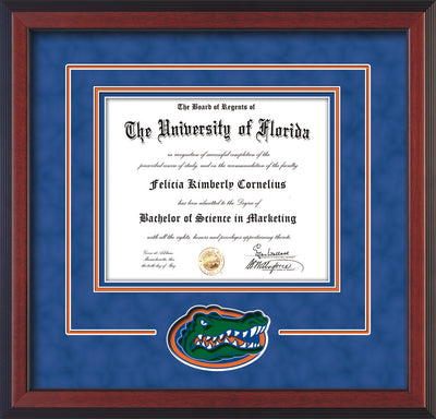 Image of University of Florida Diploma Frame - Cherry Reverse - 3D Laser UF Gator Head Logo Cutout - Royal Blue Suede on Orange on Royal Blue mat