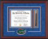 Image of University of Florida Diploma Frame - Cherry Reverse - 3D Laser Gator Head Logo Cutout - Tassel Holder - Royal Blue Suede on Orange on Green on Royal Blue mat