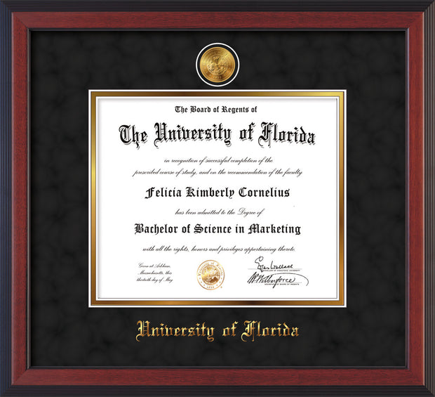 Image of University of Florida Diploma Frame - Cherry Reverse - w/24k Gold-Plated Medallion UFL Name Embossing - Black Suede on Gold mats