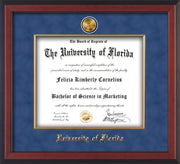 Image of University of Florida Diploma Frame - Cherry Reverse - w/24k Gold-Plated Medallion & Fillet - w/UFL Name Embossing - Royal Blue Suede mat