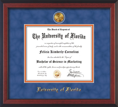 Image of University of Florida Diploma Frame - Cherry Reverse - w/24k Gold-Plated Medallion UFL Name Embossing - Royal Blue Suede on Orange mats