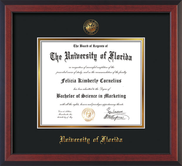 Image of University of Florida Diploma Frame - Cherry Reverse - w/Embossed Seal & Name - Black on Gold mat