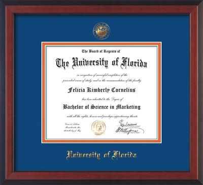 Image of University of Florida Diploma Frame - Cherry Reverse - w/Embossed Seal & Name - Royal Blue on Orange mat