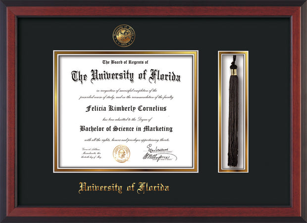 Image of University of Florida Diploma Frame - Cherry Reverse - w/Embossed Seal & Name - Tassel Holder - Black on Gold mat
