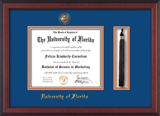Image of University of Florida Diploma Frame - Cherry Reverse - w/Embossed Seal & Name - Tassel Holder - Royal Blue on Orange mat