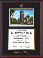 Image of University of Florida Diploma Frame - Cherry Reverse - w/Embossed Seal & Name - Campus Watercolor - Black on Gold mat