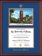 Image of University of Florida Diploma Frame - Cherry Reverse - w/Embossed Seal & Name - Watercolor - Royal Blue on Orange mat