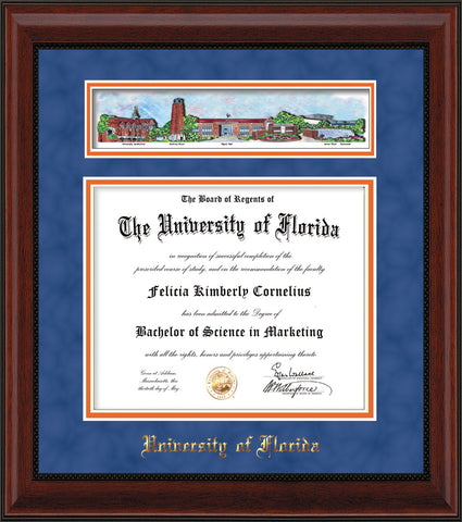 Image of University of Florida Diploma Frame - Mahogany Bead - w/Embossed School Name Only - Campus Collage - Royal Blue Suede on Orange mat