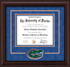 Image of University of Florida Diploma Frame - Mahogany Bead - 3D Laser UF Gator Head Logo Cutout - Royal Blue Suede on Orange on Green mat