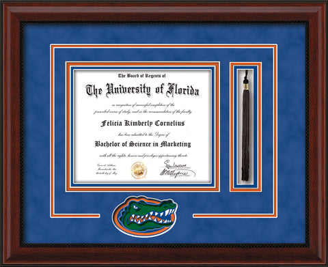 Image of University of Florida Diploma Frame - Mahogany Bead - 3D Laser Gator Head Logo Cutout - Tassel Holder - Royal Blue Suede on Orange on Green on Royal Blue mat