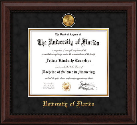 Image of University of Florida Diploma Frame - Mahogany Bead - w/24k Gold-Plated Medallion UFL Name Embossing - Black Suede on Gold mats