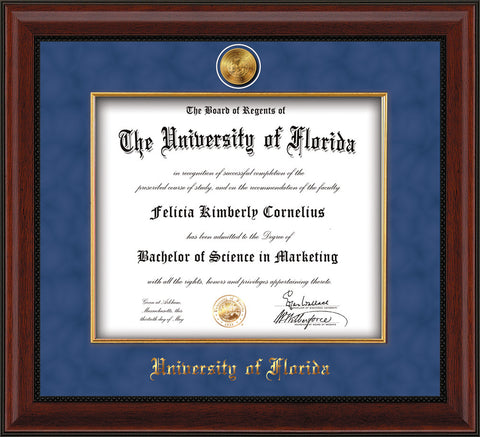 Image of University of Florida Diploma Frame - Mahogany Bead - w/24k Gold-Plated Medallion & Fillet - w/UFL Name Embossing - Royal Blue Suede mat