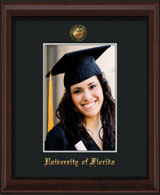 Image of University of Florida 5 x 7 Photo Frame - Mahogany Bead - w/Official Embossing of UF Seal & Name - Single Black mat