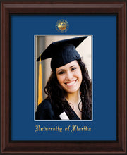 Image of University of Florida 5 x 7 Photo Frame - Mahogany Bead - w/Official Embossing of UF Seal & Name - Single Royal Blue mat