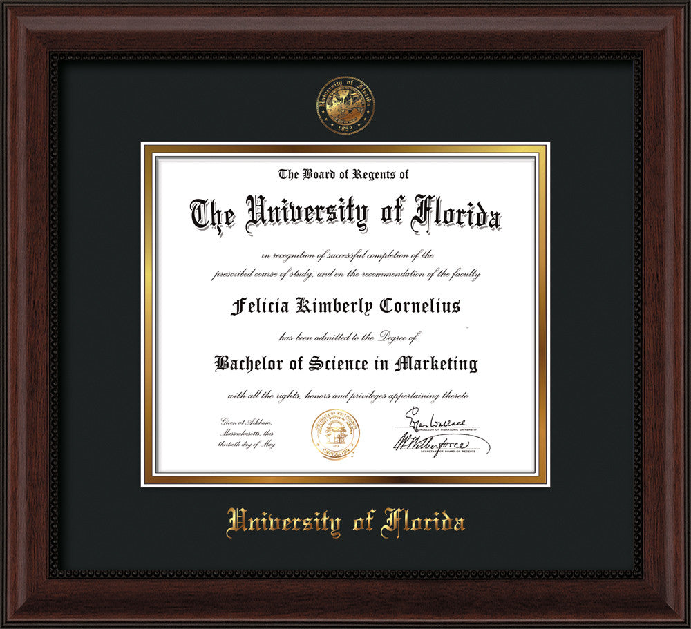University Of Florida Diploma Frame Cherry Reverse Seal