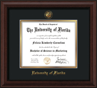 Image of University of Florida Diploma Frame - Mahogany Bead - w/Embossed Seal & Name - Black on Gold mat