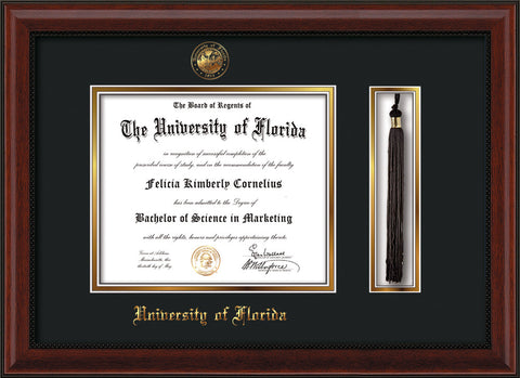 Image of University of Florida Diploma Frame - Mahogany Bead - w/Embossed Seal & Name - Tassel Holder - Black on Gold mat