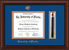 Image of University of Florida Diploma Frame - Mahogany Bead - w/Embossed Seal & Name - Tassel Holder - Royal Blue on Orange mat