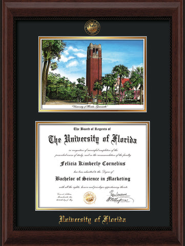Image of University of Florida Diploma Frame - Mahogany Bead - w/Embossed Seal & Name - Watercolor - Black on Gold mat