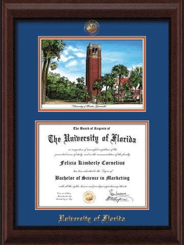Image of University of Florida Diploma Frame - Mahogany Bead - w/Embossed Seal & Name - Watercolor - Royal Blue on Orange mat