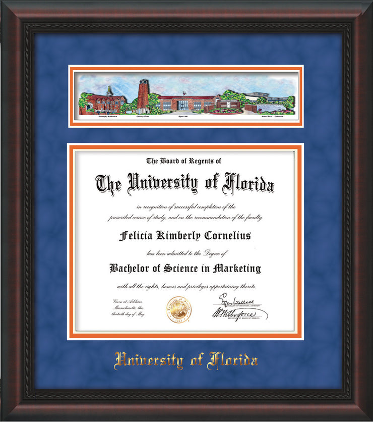 Image of University of Florida Diploma Frame - Mahogany Braid - w/Embossed School Name Only - Campus Collage - Royal Blue Suede on Orange mat