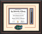 Image of University of Florida Diploma Frame - Mahogany Braid - 3D Laser UF Gator Head Logo Cutout - Tassel Holder - Cream on Orange on Royal Blue mat